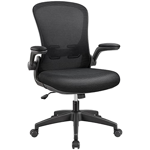 Furmax Office Chair Mesh Desk Chair with Adjustable Arms Ergonomic Computer Chair Rolling Chair with Back and Lumbar Support (Black)
