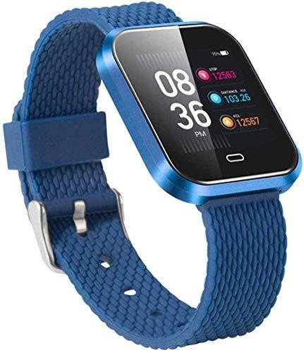 Reloj inteligente de fitness para hombre y mujer, monitor de ritmo cardíaco, presión arterial, podómetro, resistente al agua, para Android, iOS, azul, azul