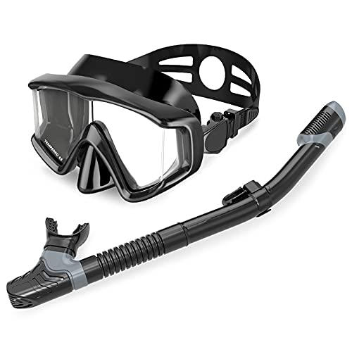 GRTY Sbos de Snorkel Gafas de natación, con combinación de enmascara de Nariz, combinación de Snorkel, Equipo de Buceo, para Adultos y Adolescentes Nadando Buceo Black