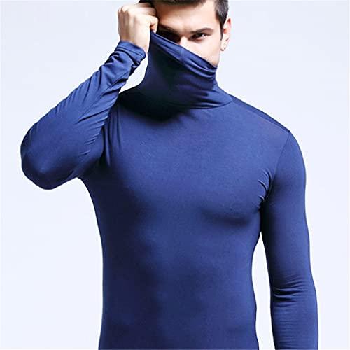 GELTDN Men's Solid Thermal Underwear Autumn Winter Turtle Neck Tops High Collar Slim Tshirts Long Sleeve Slim Fit Warm Tops (Color : B, Size : L Code)