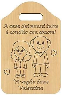 Idea Regalo originale e personalizzabile nonno nonna FESTA DEI NONNI regalo di Natale Tagliere in legno chiaro decorativo ...