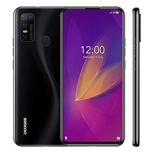Teléfono Móvil Libres DOOGEE N30(2020), 6.55 Pantalla Perforada, Android 10 Smartphone Libre, 4GB +128GB, Cámara AI 16MP, 8MP Frontal Cámara, 4500mAh Batería, Dual SIM, Negro