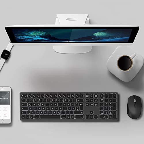 Jelly Comb Kabellose Tastatur Maus Set, 2.4G Wiederaufladbare Tastatur und Maus Set mit Hintergrundbeleuchtung, Beleuchtete Tastatur Maus Set mit QWERTZ Layout für PC, Laptop, Tablet, Schwarz und Grau