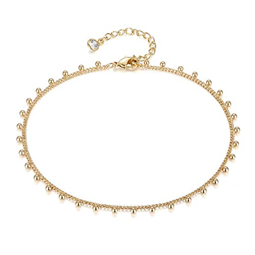 LOYATA Dainty Ankle Bracelet, 14K Gold Plated Link Chain Anklet Cute Elephant Delicate Star Tiny Cross Fish Dolphin Foot Jewelry Boho Ankle Bracelets for Women (Bead)