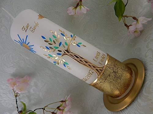 Taufkerze Lebensbaum gold mint blau handmade Wachs Taufkerzen für Junge Mädchen 250/70 mm mit Name und Datum