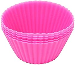 Blue Silicone Reusable Cupcake Cases 1 Pack Baking Muffin Cups Liners Mold Round in Rose Red