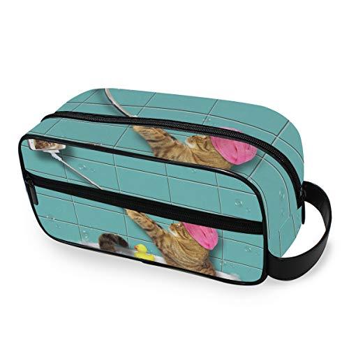 Aufbewahrung Badewanne Selfie Katze Schminktasche Kulturbeutel Werkzeuge Kosmetik Zug Fall tragbare Reisebox