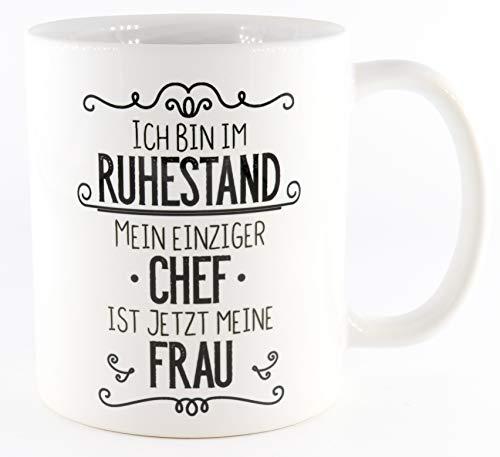PICSonPAPER Tasse Ich Bin im Ruhestand, Mein einziger Chef ist jetzt Meine Frau, Tasse Rente Rentner