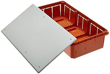 Electraline 60413 - Caja de derivación (para empotrar en obra, 296x153x70 mm), Blanco/Naranja (White/Orange)