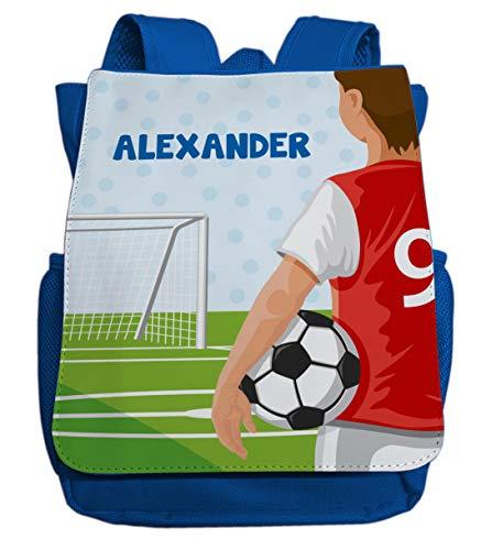 Kleiner Rucksack mit Fußball inkl. Namensdruck | Motiv Fußballspieler, Ball & Tor | Cooler Kinderrucksack mit Name | ideal für Kita- und Kindergartenkinder von 2-5 Jahre (Royalblau)