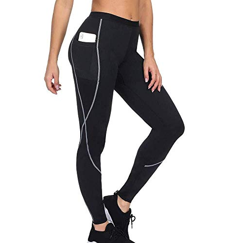 Laisla fashion Damen Lang Neopren Leggings Schwitzhose Classic Fitnesshose Anzüge Sauna Yoga Abnehmen Body Shaper Lang Oder Capri Hosen (Color : Schwarz8 Länge, Size : 2XL)