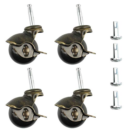 4 PCS Ball Caster Heavy Duty Stem Swivel Wheel 2 Inch Vintage Stem Caster with 4 Sockets Antique Smooth Caster Wheel for Chairs Sofa Table Leg (Stem casters with Brake Lock)