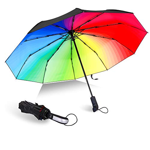 Compact Travel Umbrella Rainbow Umbrella Windproof Travel Umbrella Compact Folding Reverse Umbrella