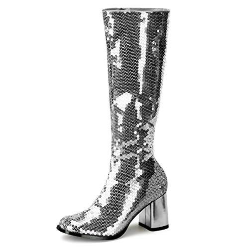 Higher-Heels Bordello Stiefel mit Pailletten Spectacul-300SQ Silber Gr. 36