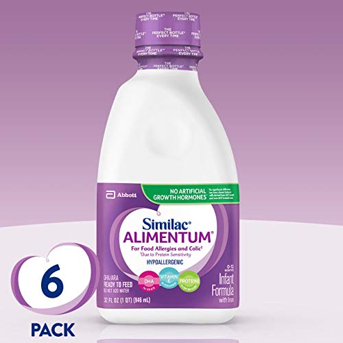 Similac Alimentum Hypoallergenic Formula with Iron, DHA/ARA, Ready to Feed, 1-Quart (Pack of 6)