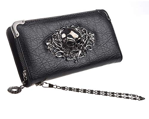 JunNeng Womens Long Skull Purse,Leather Wallets with Zipper Pocket Credit Card Slots Clutch Bag Elegant,Black