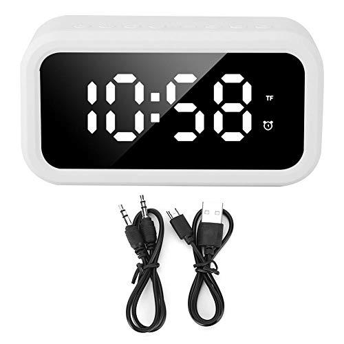 Atyhao Wiederaufladbarer Multifunktions-Bluetooth-Lautsprecher Stereo-Player LED Digitaler Wecker für Schlafzimmer oder Büro zu Hause(Weiß)