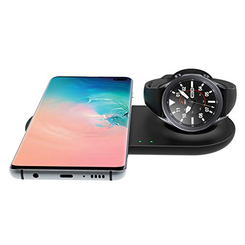 EloBeth Wireless Charger Station Compatible with Samsung Duo Galaxy Watch 3 Charger Active 2 1 Gear S3 S21 Ultra/S20/S10 e/S9 Note 10/9 Buds Pro Android Dual Multiple Devices Pad Dock No Adapter