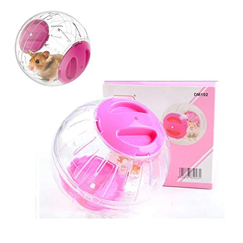 JUILE YUAN Hamster Exercise Ball, Silent Hamster Mini Running Activity Exercise Ball 4.72 inch Toy Transparent Hamster Ball Dog Special Toy Ball Small Animals Cage Accessories (Pink)
