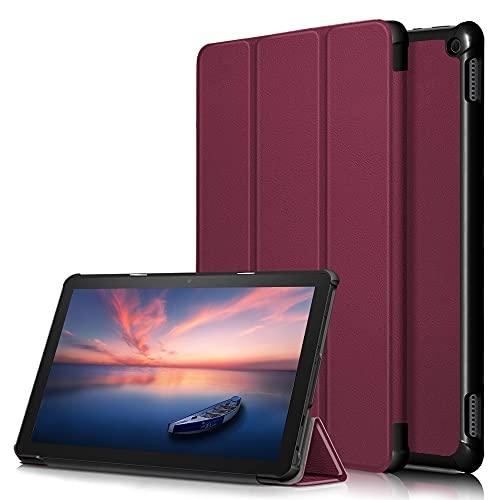 JINXIUCASE Cubierta DE Folio SMARTO Lighte with con Tri-Flow Stop Case para Kindle Fire HD 10 2021 / FUED HD 10 Plus 2021 (Color : Vino Rojo, Size : Fire HD 10 2021)