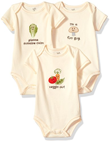 Touched by Nature Unisex Baby Organic Cotton Bodysuits, Mushroom 3-Pack, 0-3 Months