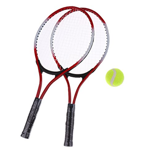 Milageto Racchetta da Tennis/Racchetta per Bambini I Principianti Gli Studenti Praticano Match-Kids - Rosso