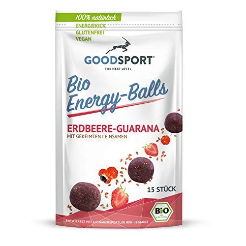 Energyballs BIO, Erdbeere-Guarana mit gekeimten Leinsamen, 15 Stück, 105g, vegan, ballaststoffreich, basisch, aus Weinbeeren, 100% natürlich