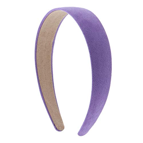 1 Inch Wide Suede Like Headband Solid Hair band for Women and Girls (Lavender)