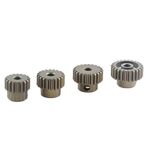 Crazepony-UK 18T, 20T, 22T, 24T 48DP 3.175mm Shaft Motor Gear Module Pinion Combo Hardening for Motor of 1:12 1:16 1/12 1/16 RC Car by