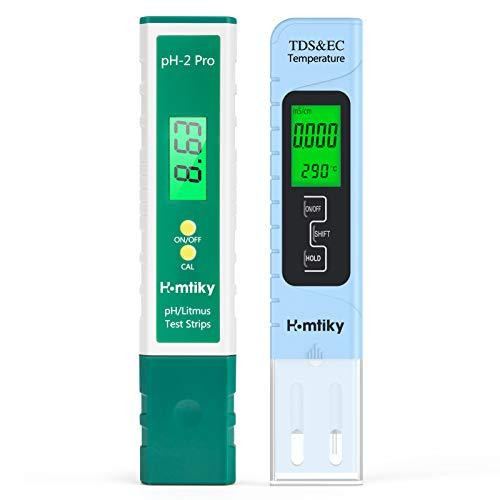 Homtiky Medidor pH, Digital Medidor TDS Temperatura EC 4 en 1, Probador de la Calidad del Agua con Rango de Medida de 0-14 pH, 0-9999ppm Calibración Automática