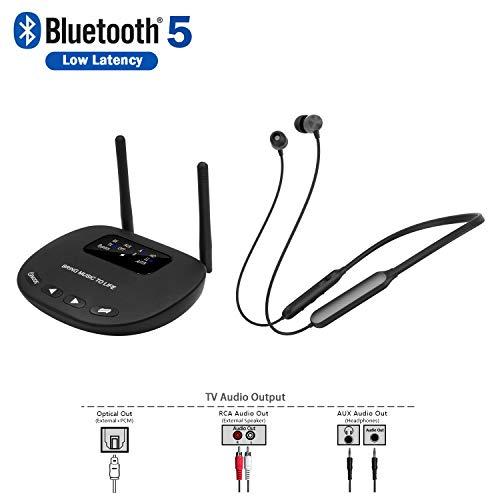 Auriculares inalámbricos Giveet Auriculares para TV con transmisor Bluetooth, Auriculares de TV Plug n Play Audífonos para Personas Mayores, sin demora de Audio, Alcance de 100 pies, Óptico RCA AUX