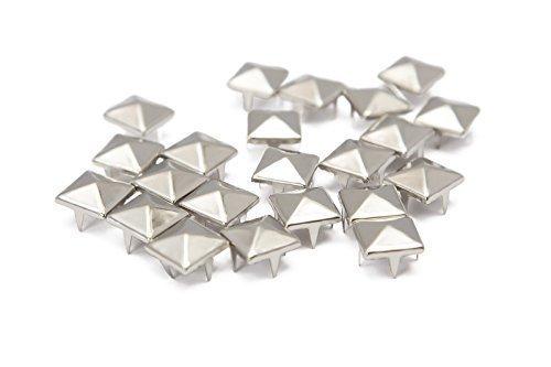 Trimming Shop – 100 Remaches de pirámide de Plata y níquel prensados a Mano o a máquina, Aptos para…