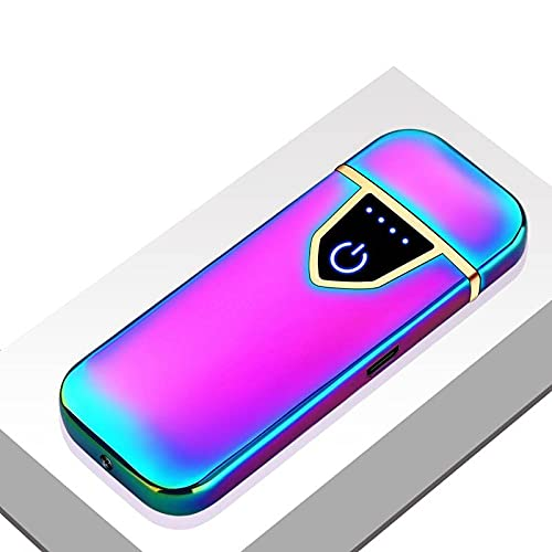 Mechero Eléctrico, USB Encendedor Electrico Pantalla Táctil Mechero USB Electric Lighter USB, sin Llama/a Prueba de Viento/Indicador de Batería/ Regalos Hombre (Multicolor)