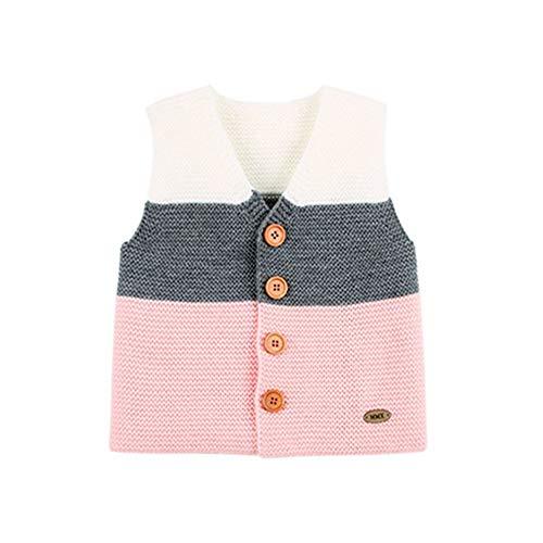 QIQI Maglia Maglione Bambini, Baby Knit Senza Maniche a Strisce Gilet Caldo Giacca Autunno Inverno Ragazzi Ragazze Abbigliamento