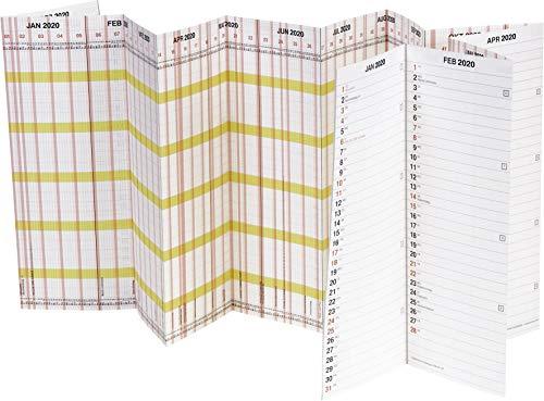 BRUNNEN 1070135 Wand-/Plakatkalender Personal-/Urlaubsplaner Modell 701 Planorama (1 Seite = 15 Monate, 1380 x 295 mm (aufgeklappt), Papier, Kalendarium 2020
