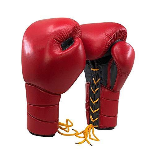 Qiutianchen Gants Adultes Lutte Contre Le Muay Thai Gants de Boxe Artificial Gants en Cuir Gants de Boxe Envoyer Serviette Bandage Poignet Sport for Les athlètes (Color : Red, Size : 12oz)