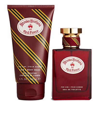 Brooks Brothers Men's Red Fleece Cologne Spray and Body Wash Gift Box Set