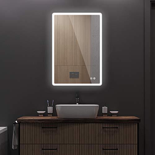 Janboe LED Beleuchtete Spiegel Badezimmerspiegel Wandmontage mit Touch-Schalter und Antibeschlagfolie für Make-up Kosmetische Rasur Einstellbare Helligkeit 500x700mm