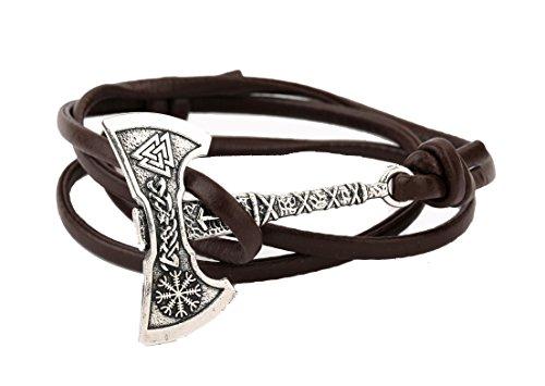 Perun's Axe - Pulsera de piel de nogal con brújula de vikingo para hombre