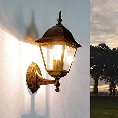 *Rustikale Wandleuchte in antikgold inkl. 1x 12W E27 LED Wandlampe aus Aluminium Glas für Garten Terrasse Garten Terrasse Lampen Leuchte außen Beleuchtung*