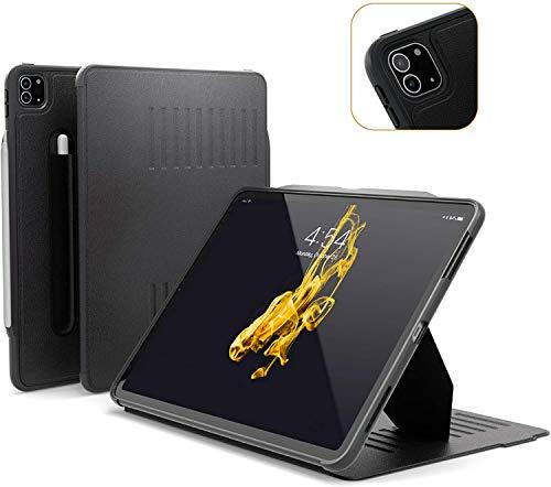 ZUGU Funda para iPad Pro 12.9 2020 4.ª Generación, Alpha Case Protector Pero Delgado con 10 Ángulos de Visión Ajustables Magnéticos, Carga Inalámbrica del Apple Pencil, Auto Reposo/Activación [Negro]