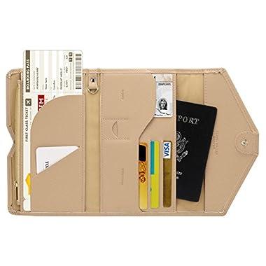 Zoppen Multi-purpose Rfid Blocking Travel Passport Wallet (Ver.4) Tri-fold Document Organizer Holder, Hazelnut