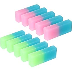 Boao 10 Pieces Double Colored Pencil Eraser Flexible Rubber Erasers for School Office Supplies