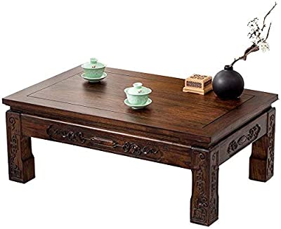 Selected Furniture/Coffee Table Solid Wood Low Table Bay Window Small Desk Antique Old Elm Tea Table Japanese Tatami Coffee Table Living Room Modern Table (Color : Light Brown, Size : 60 * 40 * 30CM)