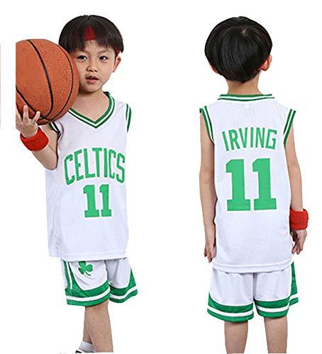 Basketball Trikot Celtics Irving # 11, Kinder Sport Shorts Sets Trikots Sommeranzüge Top Short Set für Kinder Jungen Mädchen Baby Sportswear-White-XXL