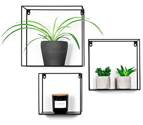 Decozey 3X Wand-Regale in schwarz - Hängeregal im Industrial Design - Wand-Deko aus Metall - Schweberegale zum Dekorieren von Küche, Wohnzimmer & Bad