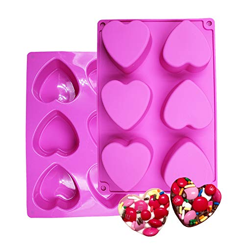 BAKER DEPOT 6 Holes Heart Shaped Silicone Mold For Chocolate