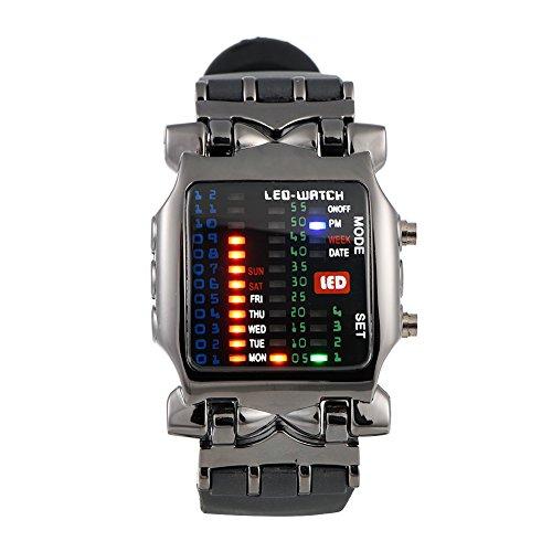 VGEBY Armbanduhr, Binär-Anzeige, LED, quadratisch, elektronisch, Kalender, wasserdicht, einzigartiges Design, Unisex, Geburtstagsgeschenk