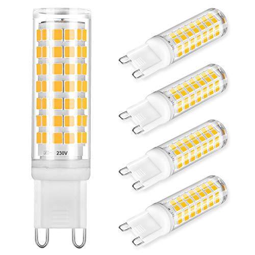 G9 LED Lampe 6W Ersatz für 40W 60W Halogenlampe Warmweiß Kein Flackern 3000K Dimmbar LED Glühbirnen G9 LED Birne AC 220-240V 4er Pack [Energieklasse A ++]