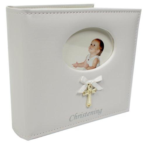 Shudehill Album photo de baptême avec croix et ruban Similicuir